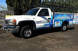 GMC vehicle graphics a white pick-up recently wrapped